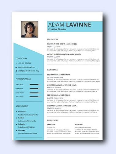 Sky Blue | Even non-creative jobs can benefit from a modern resume as it highlights your creativity, which is a sought-after trait that employers look for and it adds a conservative amount of color and design while remaining professional and clean.