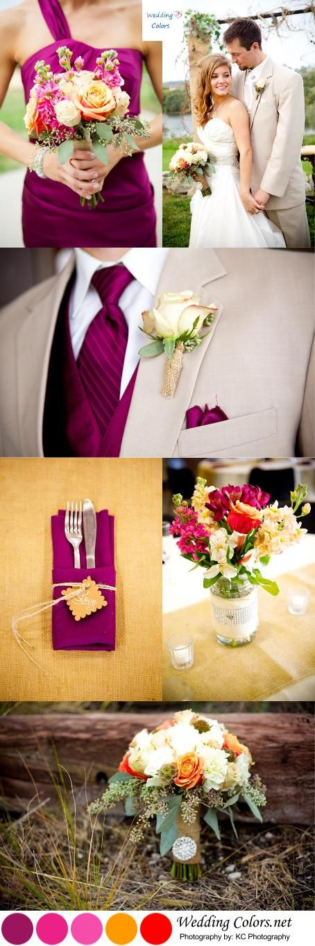 Sangria and Shades of Orange Fall Palette..see the full wedding here: http://www.weddingcolors.net/orange-sangria-rustic-fall-wedding-haley-dane.html