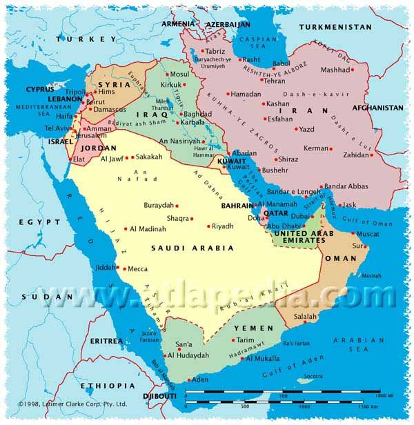 Political Map of Saudi Arabia, Israel, Jordan, Lebanon, Syria, Iraq ...
