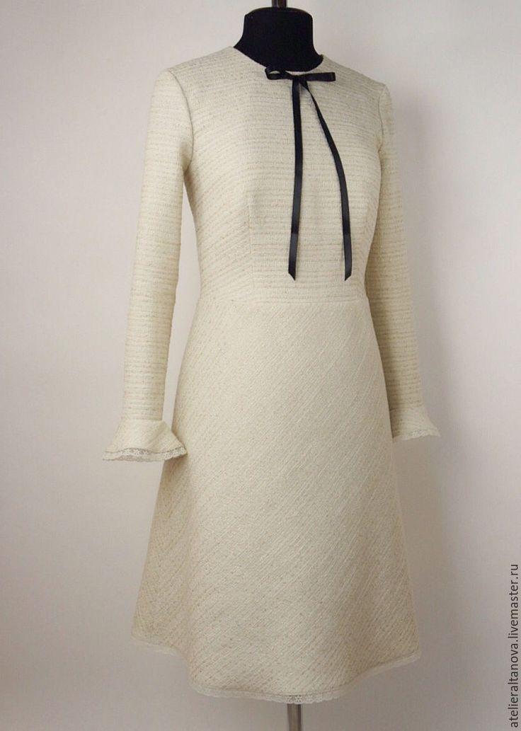 Купить Твидовое платье в стиле Шанель - бежевый, шанель, твидовое платье, платье…
