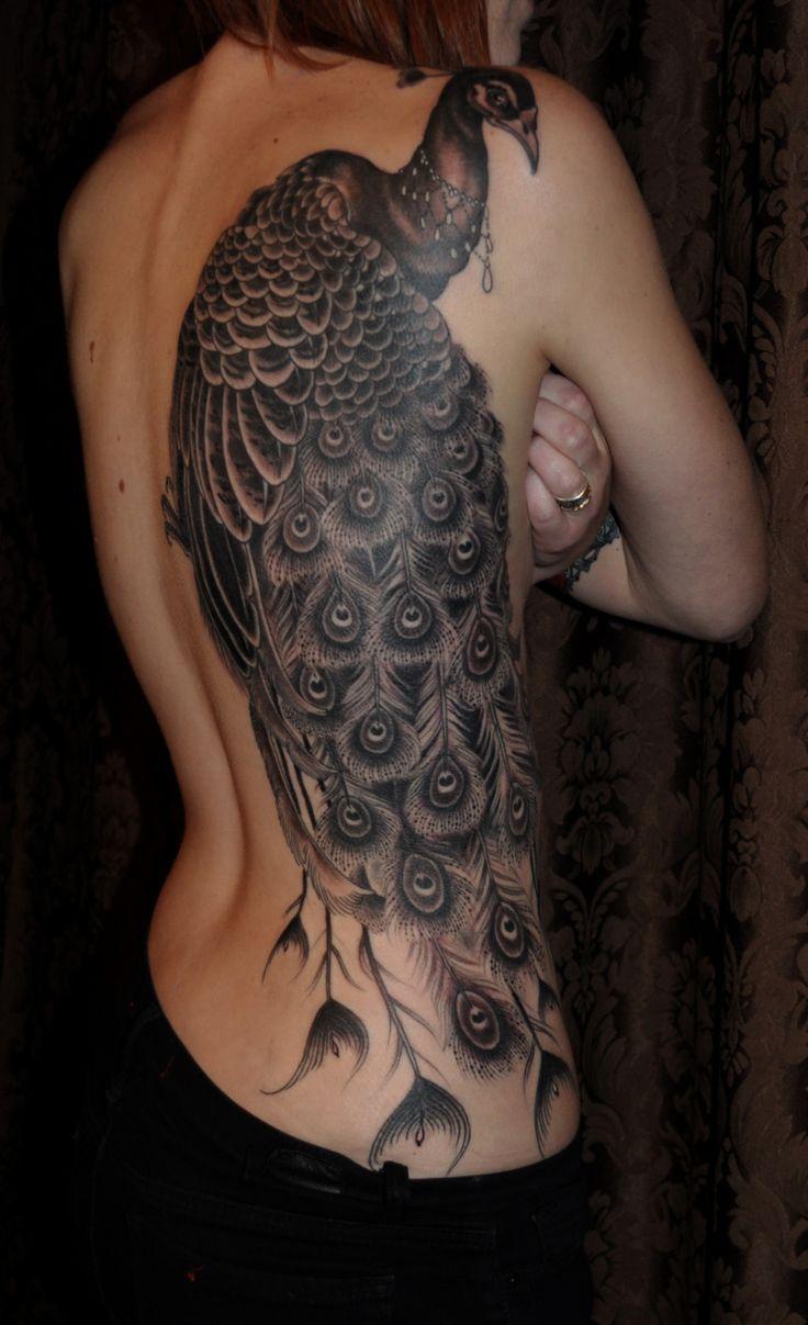 Black & grey peacock done by ryan mason- Incredible!