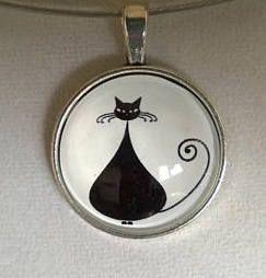 Cat necklace cat pendant cat choker black necklace cat