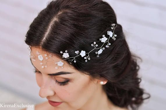 Boho wedding flower crown Wedding flower headpiece Bridal flower crown headband Bridal floral tiara White flower crown Wedding flower tiara  SIZE: circumference of the hair vine is 12. Depending on the length of hair you can choose the length of the wedding hair vine from dropdown