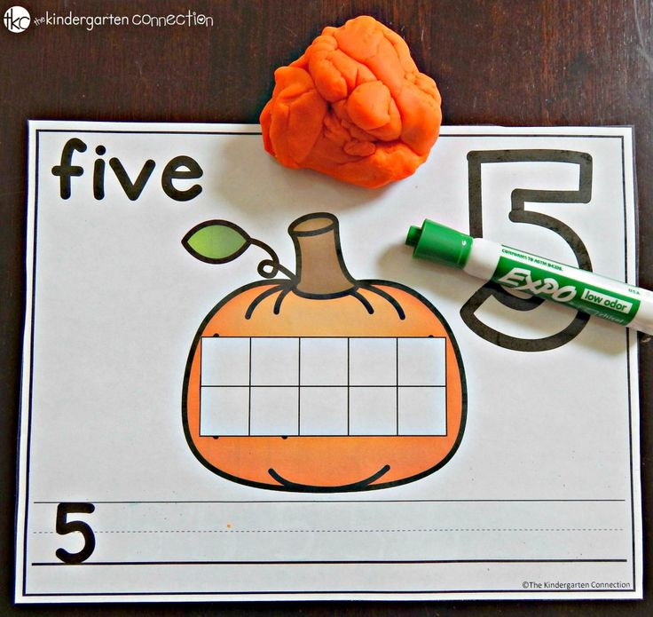 FREE Pumpkin Number Mats. Spell the number, write it and count it with playdough.