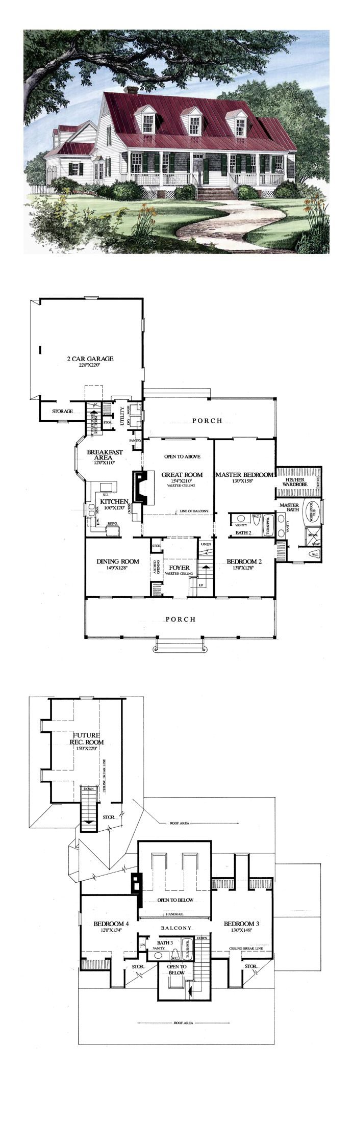 Colonial Cottage Country Farmhouse Southern Traditional House Plan 86133