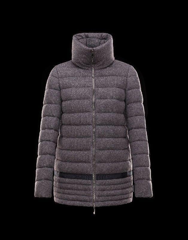 Damen jacken online, Moncler LEUCATE Damen Mantel Für Sie Granitgrau Viskose/Angora/Polyamid
