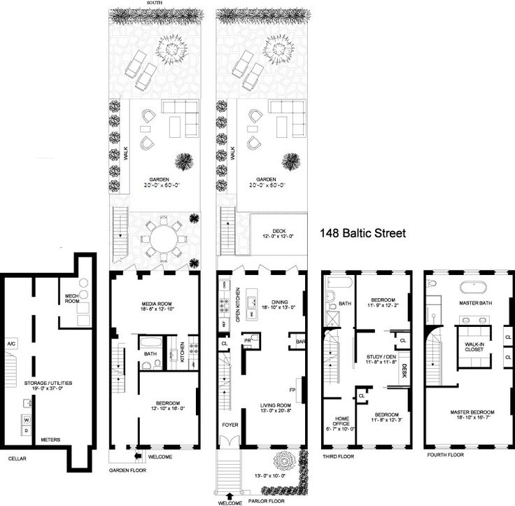8 best images about brownstone floorplans on pinterest for Brownstone townhouse plans