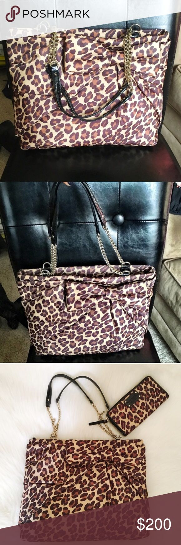 "Kate Spade Nylon Leopard Print Bag NWOT - Kate Spade Leopard print nylon bag. Never used, perfect condition! All original packaging inside with dustbag. Adorable bow detail on front. Black patent leather straps with gold chain hardware. The perfect material - so difficult to get dirty! Lots of room inside. Measures 14.5""X11"". Matching NWT wallet sold separately but can be bundled together for 15% off. No modeling/trades. kate spade Bags Totes"