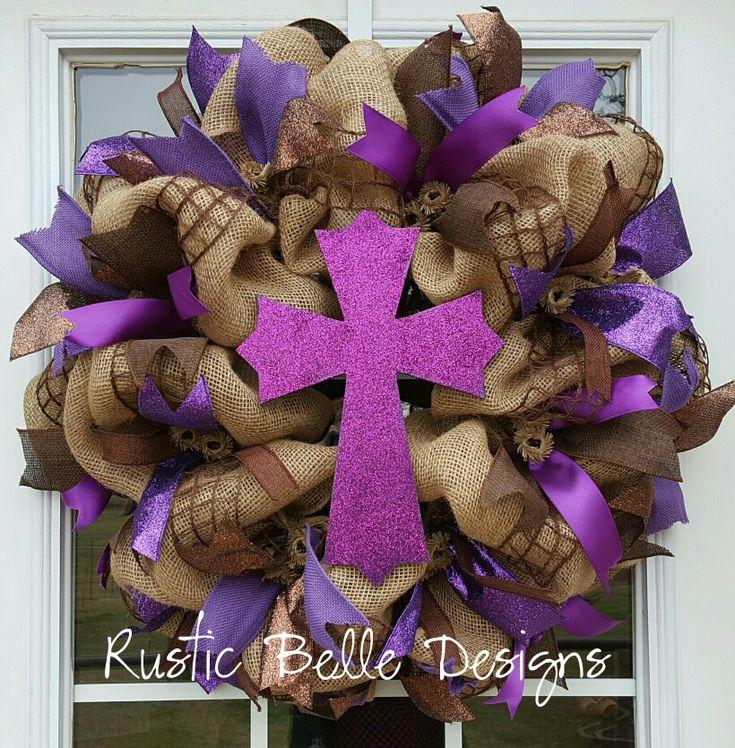 Purple, Brown and Burlap Glitter Cross Wreath. www.rusticbelledesigns.com