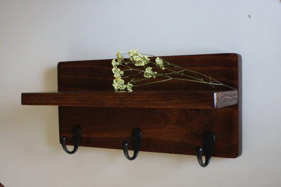 Wall Shelf With Hooks - Key Hooks - Bathroom Storage - Entry Decor - Choose Your Stain - No Jar Option on Etsy, $28.00