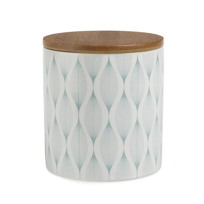 Sheperd Boîte en porcelaine blanche à motifs bleus et couvercle en bois H10.5cm