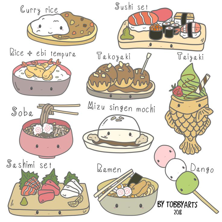 clipart kawaii japanese drawing dessert drawings draw clip illustration easy cartoon stickers chinese junk printable digital characters glorious cookie pins