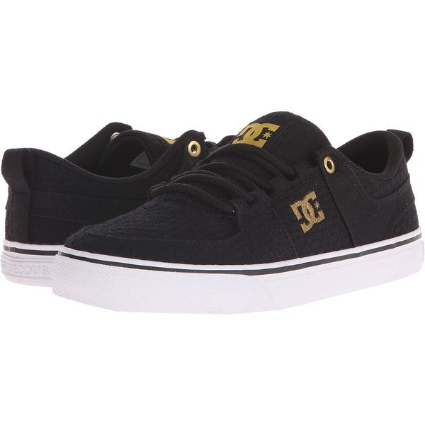 DC Lynx Vulc TX SE (Black/White/Gold) Women's Skate Shoes (225 ARS) ❤ liked on Polyvore featuring shoes, sneakers, multi, grommet shoes, gold shoes, black and white sneakers, black and white print shoes and eyelets shoes