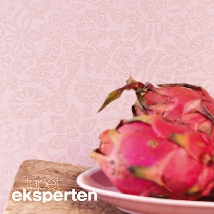 Ibiza 330211 - blomstret tapet. Småmønstret tapet med shiny effekt i flere farver. Denne er sart lyserød.