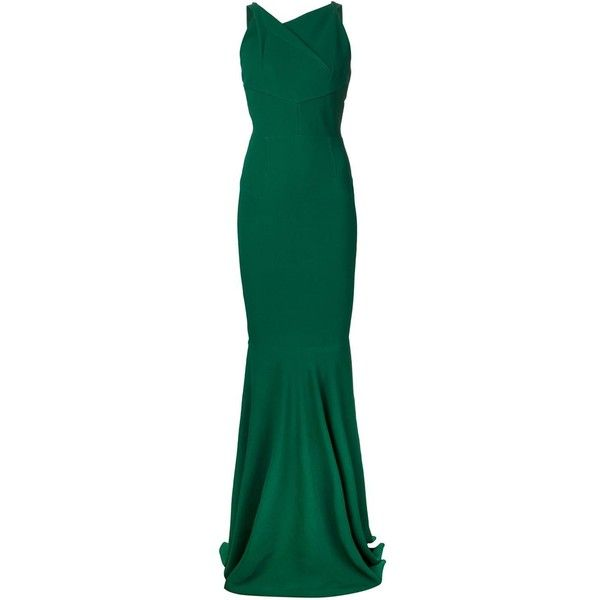 Roland Mouret 'Veraha' mermaid gown (6 595 AUD) ❤ liked on Polyvore featuring dresses, gowns, green, blue dress, green evening dress, green ball gown, green mermaid dress and blue evening gown