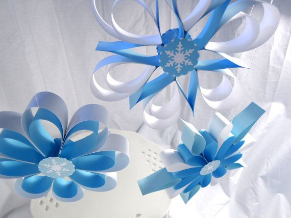 Frozen Party Hanging Snowflakes Winter by FunburstPartyandGift