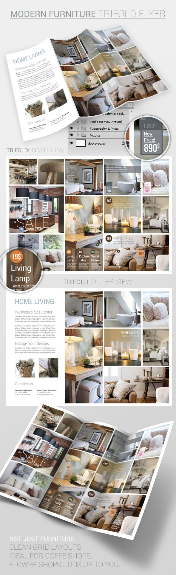 Furniture: Trifold Flyer PSD Template by Nikola Kumburovic, via Behance