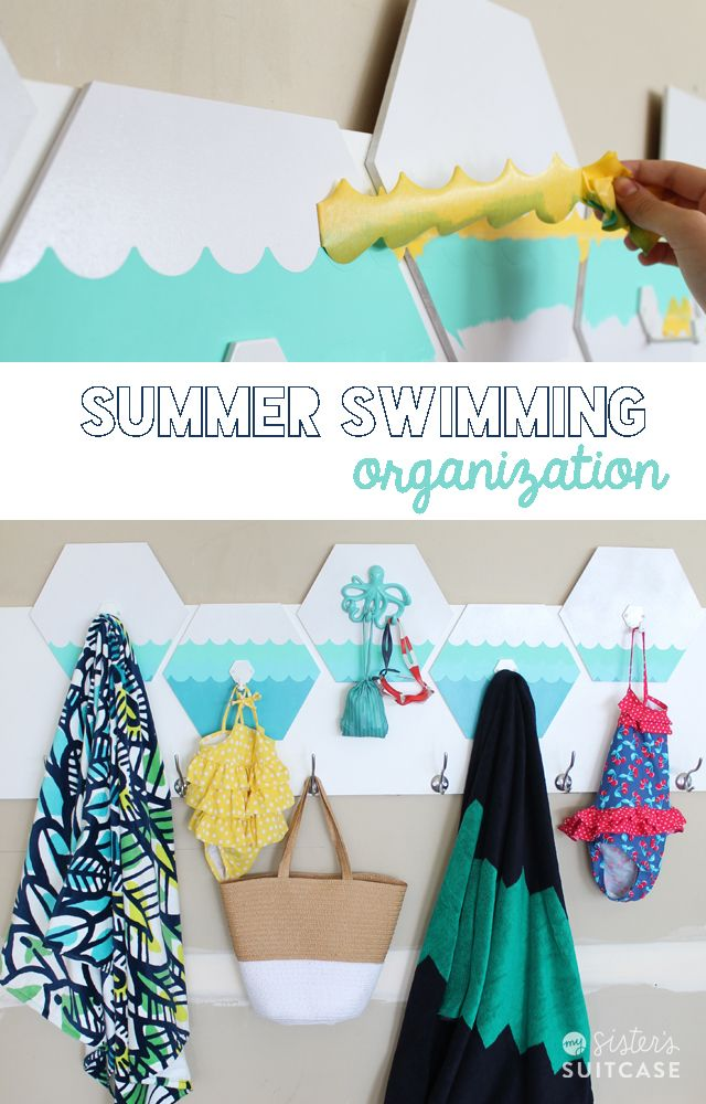 Summer Swimming Organization #hexagons #shapetape: Watercolor Art, Wall Hooks, Diy Ombre, Diy Watercolor, Hooks Diy, Diy Ideen, Diy Wall, Sisters Suitca, Great Ideas