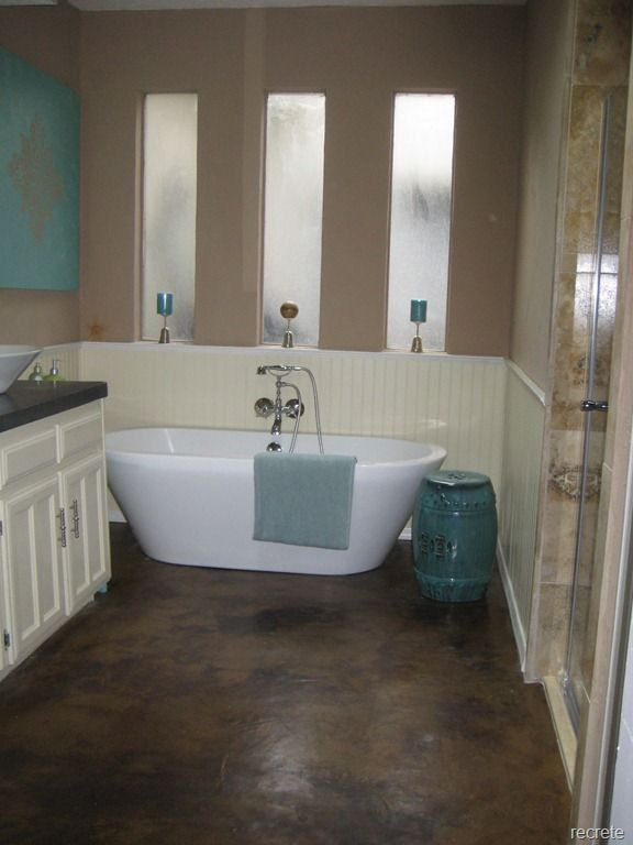 Stained Concrete My Husband Knows How To Do This Concrete Bathroombathroom Flooringsunroom