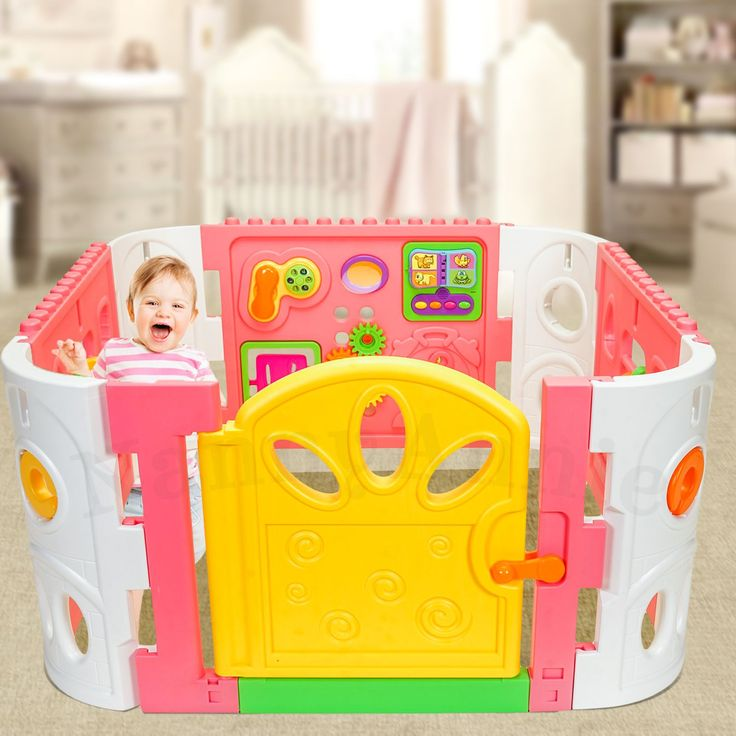 Baby Playpen - Interactive Baby Room Play Den WITH GATE - Pink - Nanny Annie