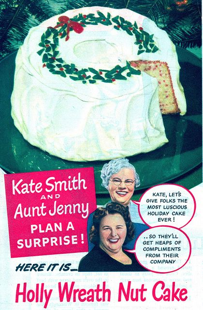Kate Smith's and Aunt Jenny's Holly Wreath Nut Cake for Christmas, 1944-(via File Photo) | Flickr - Photo Sharing!