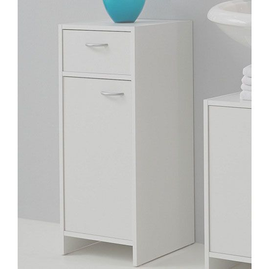 Lovely Madrid2 Bathroom Floor Cabinet In White With 1 Door And 1 Drawer £59.95  #bathroomcabinet