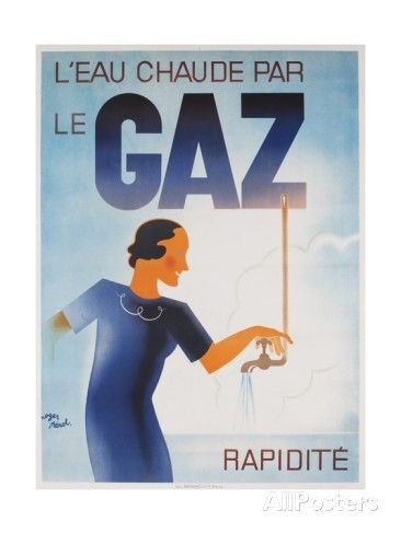 Gaz French Advertising Poster, Hot Water Fast with Gas