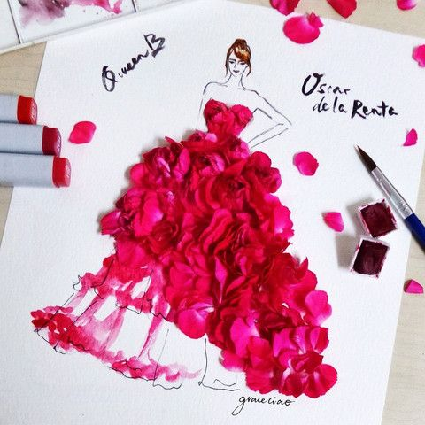 Grace Ciao, fashion illustrator who combines watercolor and flower petals in her designs