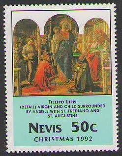 Fra Filippo LIppi. la Vergine e il Bambino con i santi Frediano ed Agostino riprodotta in un francobollo del 1992 dello Stato di Saint Kitts e Nevis (America centrale, Piccole Antille)
