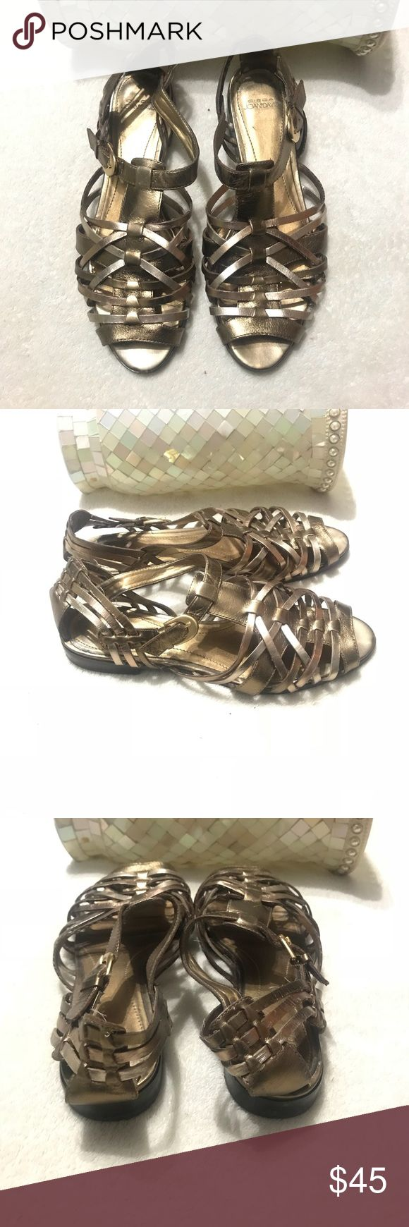 CIRCA Joan David Golden  Strappy Sandals Flats FEATURES   • Super Cute Strappy Sandals by CIRCA Joan & David  •Golden Color  • Sz 8.5  • Leather Upper  • Buckle Fastening Joan & David Shoes Sandals