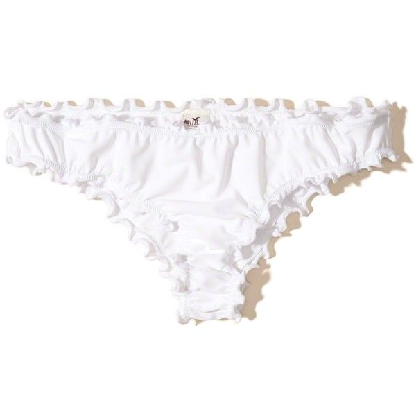 Hollister Ruffle Cheeky Bikini Bottom ($15) ❤ liked on Polyvore featuring swimwear, bikinis, bikini bottoms, white, scrunch bikini, ruffle bikini bottom, white ruffle bikini, flounce bikinis and white bikini bottoms
