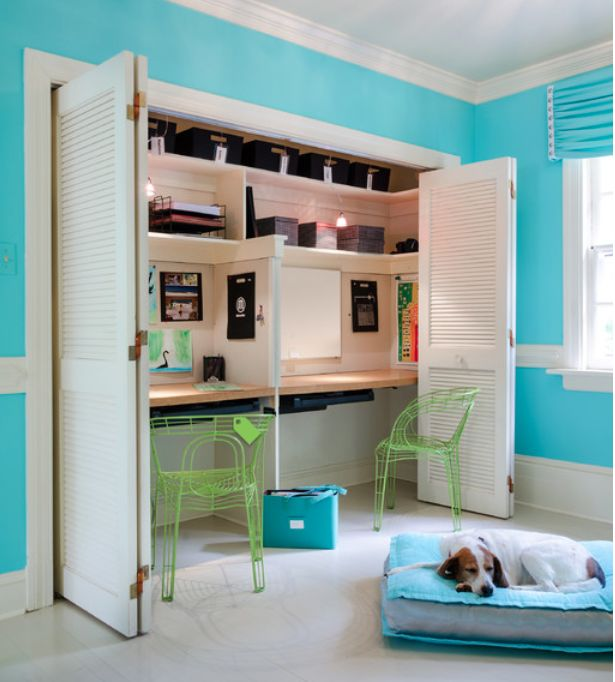 Creative workspace ideas: Create a recessed desk in a closet, via Kathy Corbut Interiors