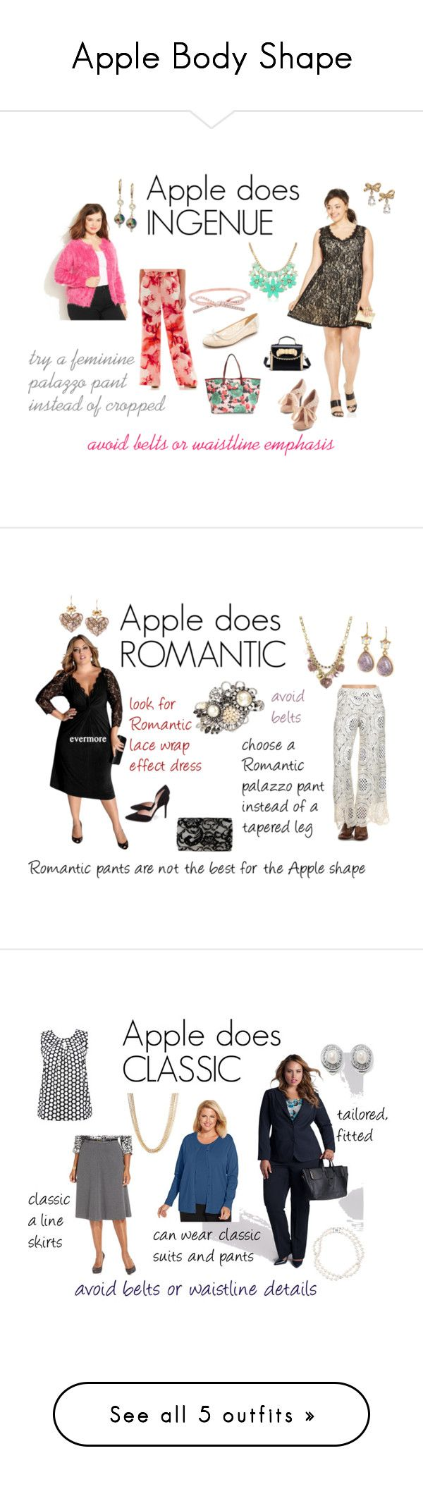 """""""Apple Body Shape"""" by expressingyourtruth ❤ liked on Polyvore featuring Trixxi, A.N.A, JunaRose, Marc by Marc Jacobs, Kate Spade, plus size dresses, L & B, Miriam Haskell, Stuart Weitzman and Betsey Johnson"""