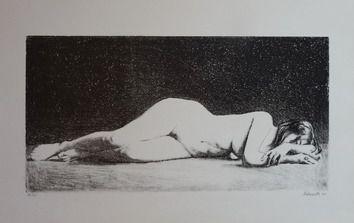 Schwartz, litografia ležiaci akt, 1971, rámovaný, rozmer tlače 50x25 cm