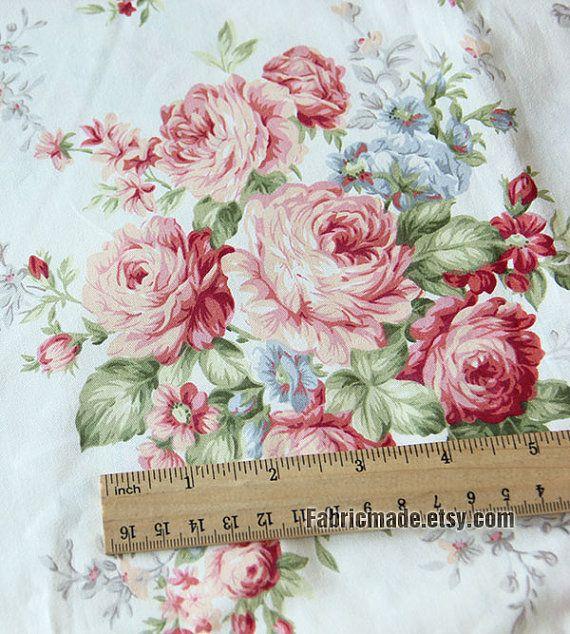 Iarda di cotone tessuto rosa peonia crema Light di fabricmade