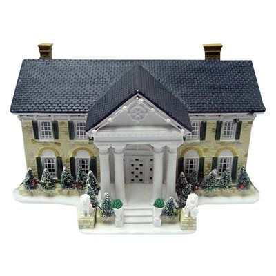 ELVIS Lighted Musical Elvis Presley Graceland House Christmas Collectible