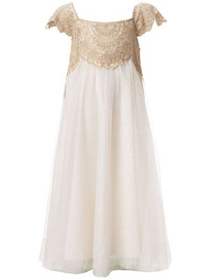 Gold lace flower girl dress.