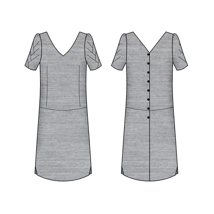 Modèle femme  Avec sa coupe droite et la couture de taille descendue aux hanches, Pachira est une robe dont toute la féminité se révèle dans le décolleté. L'échancrure du dos se termine par une longue série de boutons. Au tressage des manches répond une découpe dans le bas de la jupe. A porter à la belle saison pour mettre la poitrine en valeur et cacher les rondeurs.  Présentation en détails sur le blog blousetterose.wordpress.com  Tailles : 34-36-38-40-42-44-46-48 * Stature: 1,68m * Tour…