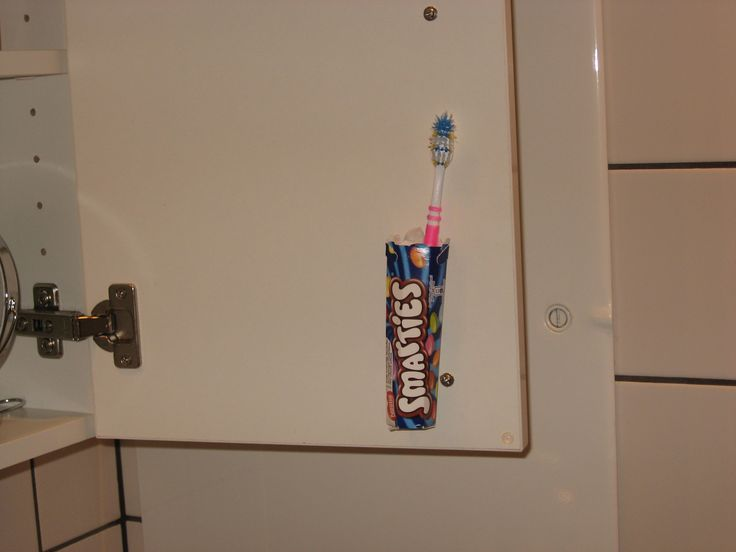 Save space. Toothbrush holder.