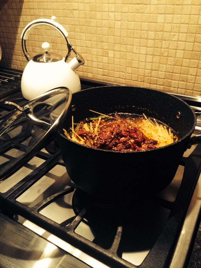 One pot receipe with HeritageThe Rock non-stick forged aluminum stock pot!! Love it!❤️