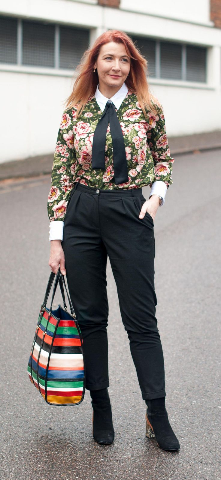 A masculine/feminine floral blouse with contrasting cuffs and black neck tie \ with black peg leg tapered trousers pants \ Finery two tone suede and leopard ankle boots \ multi-coloured striped Mango shopper bag | Not Dressed As Lamb, over 40 fashion