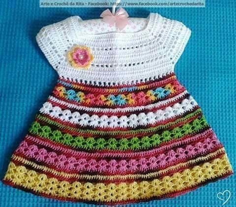 Vestido infantil em crochê                              …                                                                                                                                                                                 Mais