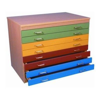 A1 Plan Chest with multicoloured drawers