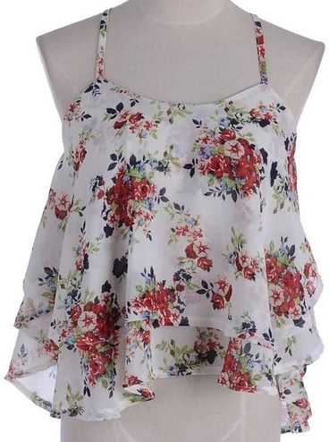 PRETTYFUIDE - FLOWY - CHIFFON OVERLAY - ADJUSTABLE STRAP - CROP TOP / TANK - FLORAL -- WHITE
