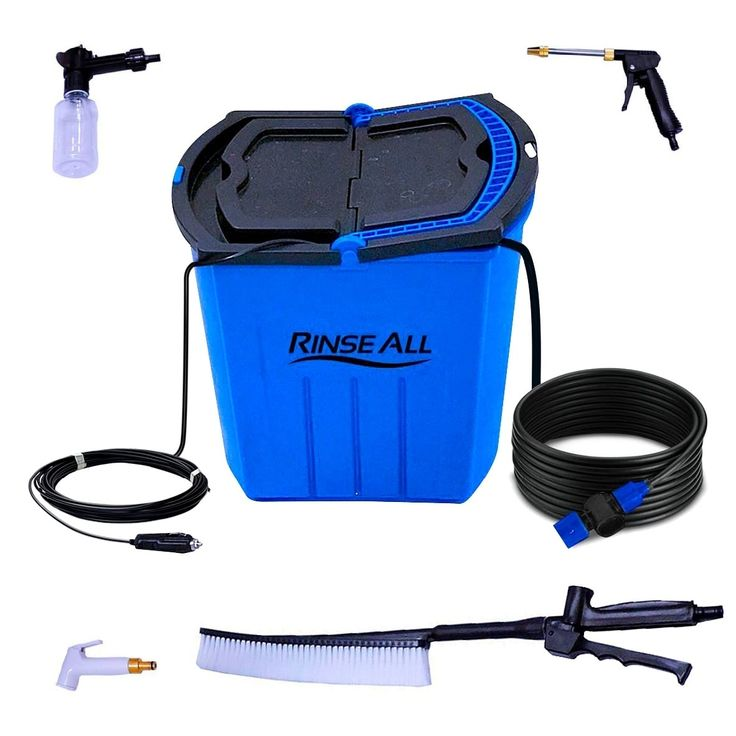 Rinse All EW10 -12V Powered Car Washer Kit - 7 Gallons Portable High Pressure Camping Shower, Brown sand, Gardening