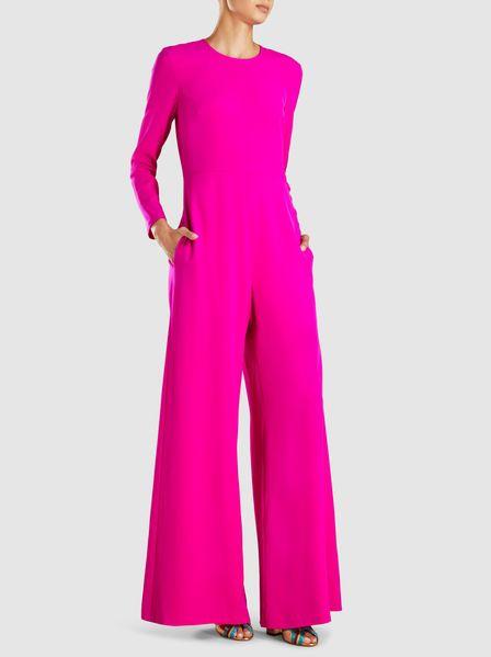 7cb25d2d082b Adam Lippes - Long Sleeve Crew Neck Silk Jumpsuit