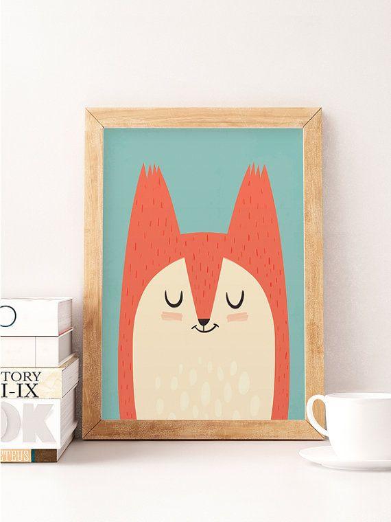 Fox print Cute fox Nursery wall decor Cute art work от NorseKids
