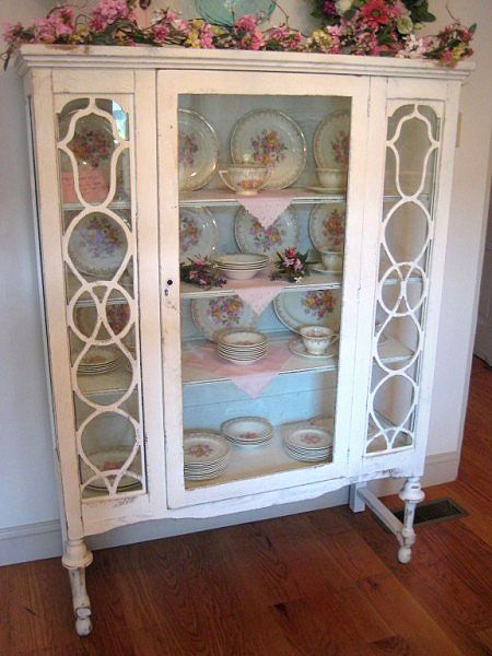 displaying  china in a cabinet | Vintage Shabby Chic Glass Display Cabinet
