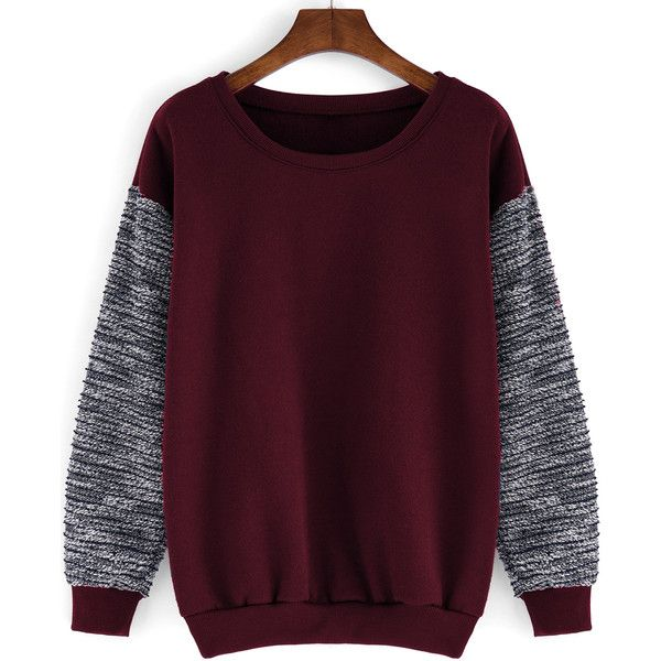 Round Neck Contrast Sleeve Loose Red Sweatshirt ($12) ❤ liked on Polyvore featuring tops, hoodies, sweatshirts, shirts, sweaters, long sleeves, red, purple sweatshirt, long sleeve pullover and purple long sleeve shirt
