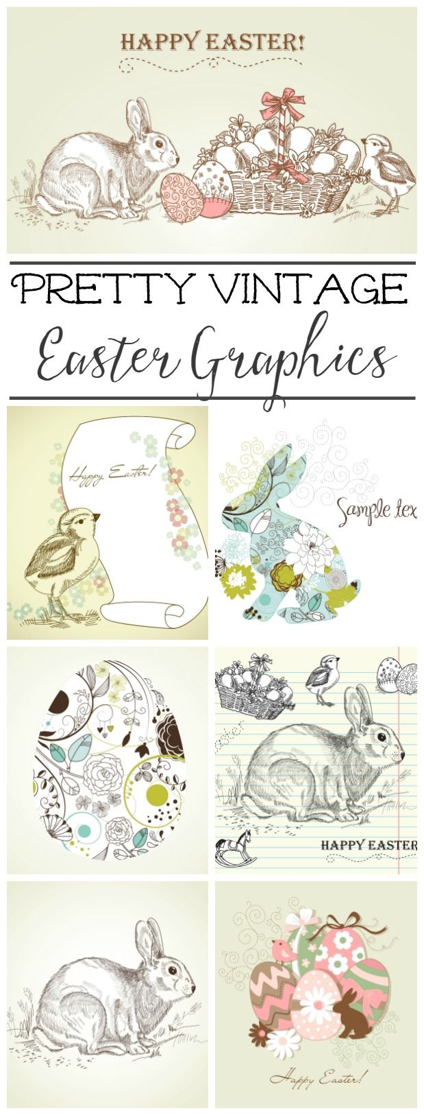 Pretty vintage Easter graphics. Great for Easter cards, tags and printables!